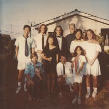 Clegg Lab, Summer 1990; (L-R): Rob Chen, Dennis Clegg, Cameron Clegg, Ron Lebel, Esther Choi, Mark Eckley, Dennis Gervin, Eddie Weldon, Jackie Johnson, Sherrie Johnson, and Amy Bradshaw (missing: Gordon Cann and Pete Sullivan)