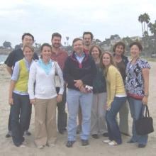Clegg Lab, 2008. (L-R) Qirui Hu, Molly Baker, Amy Friedrich, Dave Buchholz, Dennis Clegg, Sergiu Leu, Teisha Rowland, Liane Miller, Susanne Meyer, Sherry Hikita.