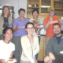 Clegg Lab, 2007: (L-R) Teisha Rowland, Leslie Tong, Sherry Hikita, Amy Friedrich, Eiko Tsuchida, Cameron Clegg, Dave Buchholz, Dennis Clegg.