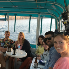 Lab Boat Party aboard Dr. Clegg's vessel, The Faculty Meeting II. (2016) From Left: Katharine McLean, Dr. Jeff Bailey, Dr. Britney Pennington, Justin LaForge, Kelsy Siegel, Dr. Mei Jiang, Dr. Tracy Clevenger, John Macy, and Leah Foltz.