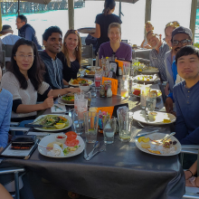 Farewell Dinner for Dr. Mei Jiang, November 2018. (L-R) Andrew Garcia, Katie Pham, Dr. Mei Jiang, Vignesh Nadar, Dr. Britney Pennington, Dr. Jeff Bailey, DOC, Dr. Leah Foltz, Mohamed Faynus, Mitchell Hee, Cassidy Arnold