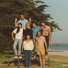 Clegg Lab, August, 1988; (L-R) Melanie Mark, Jeff Miller, Alice Well, Esther Choi, Pete Sullivan, Dennis Clegg, and Darren Singer.