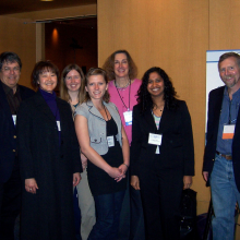 UCSB Trainees funded by the California Institute for Regenerative Medicine (CIRM), 2010. (L-R) Alan Trounson, President of CIRM, Sherry Hikita, Teisha Rowland, Misty Riddle, Patricia Olson, VP of CIRM, Poornima Kolhar, and Dennis Clegg.