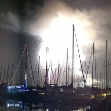 Fourth of July Fireworks at the SB Harbor from onboard The Faculty Meeting II. Photo Credit: Dennis Clegg