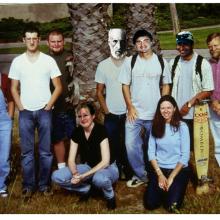 Clegg Lab 2001. (L-R) Sherry Hikita, Sergiu Leu, Kevin Wingerd, Erin Dunkle, Ramon Y Cajal, Stuart Webb, Susan Jaques, Billy Wayne, DOC