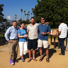 Dave Buccholz's Defense BBQ at Goleta Beach. (L-R): Dennis Clegg, Dave Buchholz, and proud parents.