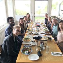 Kelsy Siegel's Graduation Lunch, March 10th, 2017. (L-R) Veronica Karpinski, Mohamed Faynus, Dr. Britney Pennington, Melanie Lock, Katharine McLean, Leah Foltz, Kelsy Siegel, Dr. Dennis Clegg, Dr. Mei Jiang.