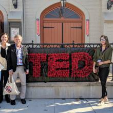 TEDx Santa Barbara to see Grad Student Leah Foltz present. (L-R) Dr. Mei Jiang, Marta Stevanovic, Dr. Dennis Clegg, Katharine McLean, Vignesh Nadar.