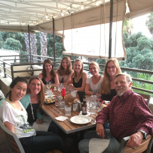 Farewell dinner for Dr. Tracy Clevenger at Endless Summer.(2016) Left to Right: Dr. Mei Jiang, Dr. Britney Pennington, Dr. Tracy Clevenger, Katharine McLean, Cassidy Arnold, Kelsy Siegel, Leah Foltz, Dr. Dennis Clegg