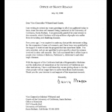 Letter from Nancy Regan for Stem Cell Town Hall Meeting, 2008.