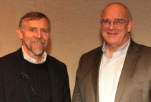 Dr. Dennis Clegg (l) was welcomed by NEI director Dr. Paul Sieving.