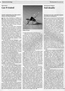 Economist reports on work in PNAS on creation of sterile male mosquitoes