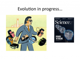 Cartoon of Ethan and cover of science magazine